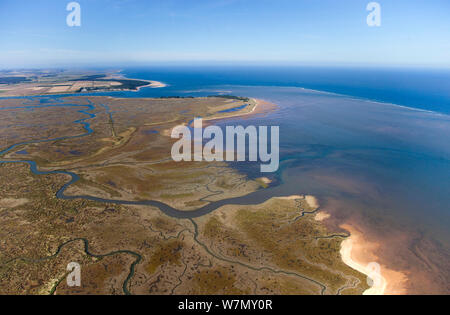 Aerial view of Stiffkey Marshes and North Norfolk coast, UK, September 2009 - Stock Photo