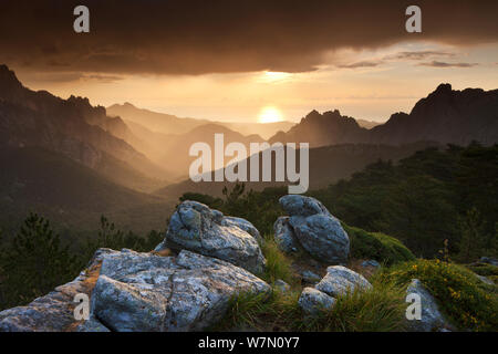 The Col de Bavella at dawn, Corsica, France. June 2011. - Stock Photo