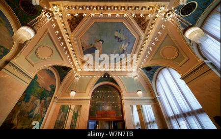 Prague Czech Republic. Decorated rooms inside the Municipal House - Stock Photo