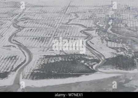 Aerial view of tidal creeks flowing through the snow-covered saltmarshes on the south coast of Norderney Island to the Wadden Sea, East Frisia, North Sea, Lower Saxony, Germany February 2012 - Stock Photo