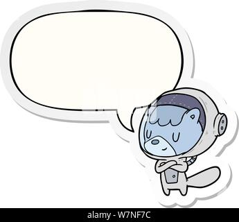 cartoon cat astronaut animals with speech bubble Stock