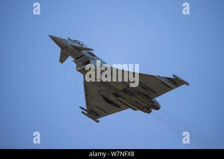 RAF Typhoon FGR4 - Eurofighter during training missions at RAF Coningsby, UK. - Stock Photo