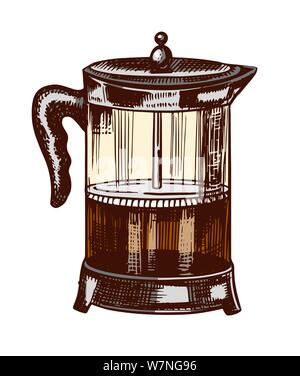 French press for making coffee in vintage style. Hand drawn engraved retro sketch for labels. Brewing cappuccino or espresso, template for a label or - Stock Photo
