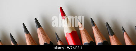 Red pencil standing out from crowd of plenty
