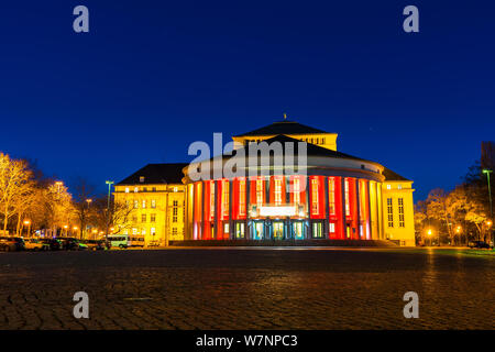 Germany, Ancient theatre building in old town of saarbrucken city in magic night light - Stock Photo