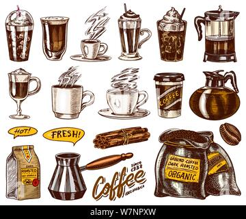 Set of cups of coffee in vintage style. Take away espresso and latte, mocha and Americano, Cappuccino and Glace, frappe in a glass. Hand drawn - Stock Photo