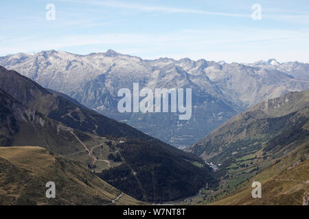 View from the Col du Tourmalet west towards Bareges and Luz-St-Sauveur, Pyrenees, France, September 2010. - Stock Photo