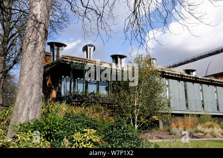 The Centre for Understanding the Environment (CUE) an eco building with cowls which incorporate a passive ventilation system on the green roof. The Horniman Museum London, UK - Stock Photo