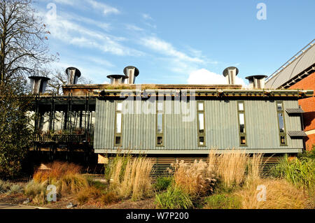 The Centre for Understanding the Environment (CUE) an eco building with cowls which incorporate a passive ventilation system on the green roof. The Horniman Museum London UK - Stock Photo