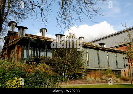 The Centre for Understanding the Environment (CUE) an eco building with cowls which incorporate a passive ventilation system on the roof. The Horniman Museum London, UK - Stock Photo