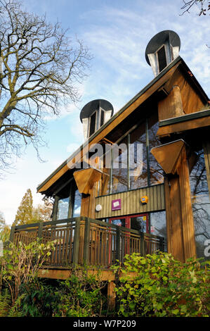 The Centre for Understanding the Environment (CUE) an eco building with showing cowls which incorporate a passive ventilation system. The Horniman Museum London, UK - Stock Photo