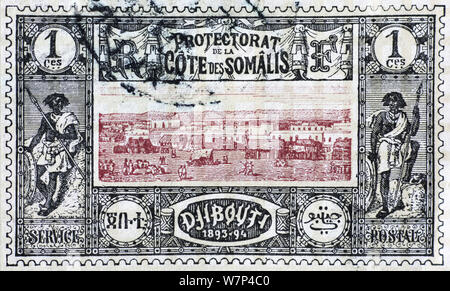 Very old postage stamp of Djibouti - Stock Photo
