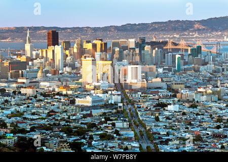 City skyline viewed from Twin Peaks, San Francisco, California, USA 2011 - Stock Photo