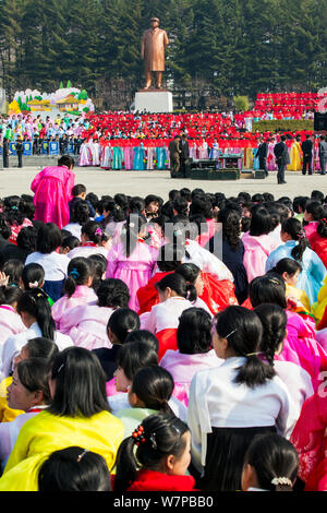 Celebrations on the 100th anniversary of the birth of President Kim IL Sung, Pyongshong, satellite city outside of Pyongyang, Democratic Peoples' Republic of Korea (DPRK), North Korea, April 15 2012 - Stock Photo