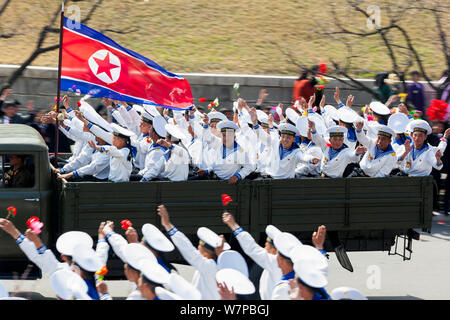 Sailors on military parade during street celebrations on the 100th anniversary of the birth of President Kim IL Sung, Pyongyang, North Korea, Democratic Peoples' Republic of Korea (DPRK) April 15th 2012 - Stock Photo
