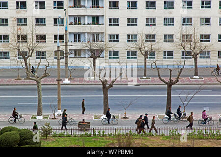 City streets in Hamhung, with bicycle lane, Democratic Peoples' Republic of Korea (DPRK), North Korea 2012 - Stock Photo