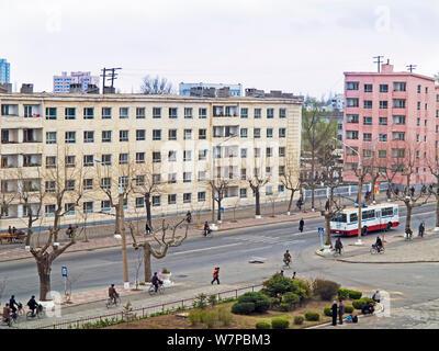 City streets in Hamhung, second city, Democratic Peoples' Republic of Korea (DPRK), North Korea 2012 - Stock Photo