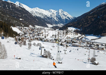 View towards St Jakob at St Anton am Arlberg, Tirol, Austria, 2008 - Stock Photo