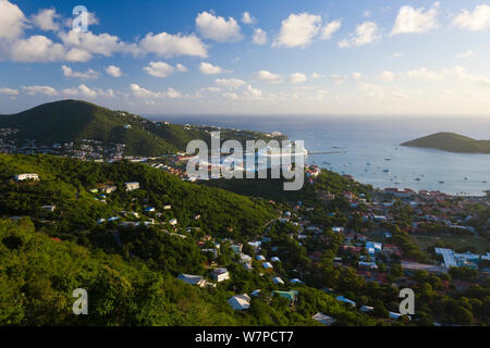 Elevated view over Charlotte Amalie and the Cruise Ship dock of Havensight, St Thomas, US Virgin Islands, Leeward Islands, Lesser Antilles, Caribbean, West Indies 2008 - Stock Photo