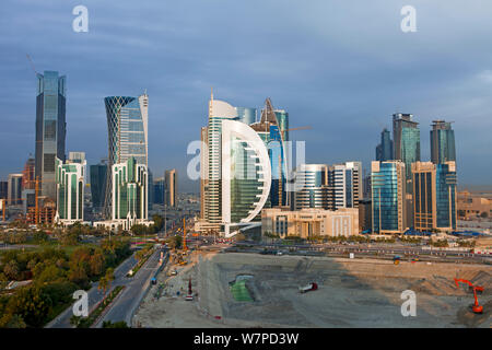 New skyline of the West Bay central financial district of Doha, Qatar, Middle East, Arabian Peninsula 2011 - Stock Photo