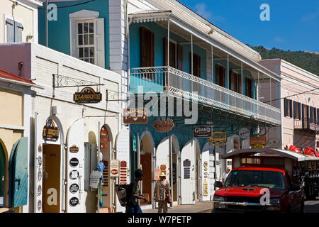Shops lining the central Main Street, Charlotte Amalie, St Thomas, US Virgin Islands, Leeward Islands, Lesser Antilles, Caribbean, West Indies 2008 - Stock Photo