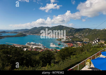 Elevated view over Charlotte Amalie and the cruise ship dock, St Thomas, US Virgin Islands, Leeward Islands, Lesser Antilles, Caribbean, West Indies 2008 - Stock Photo
