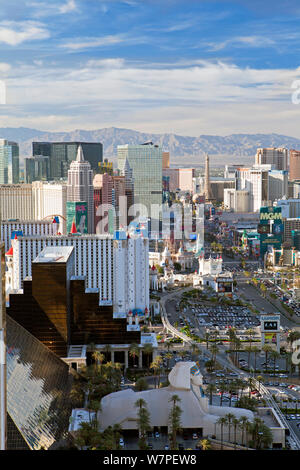 Elevated view of the Hotels and Casinos along the Strip, Las Vegas, Nevada, USA 2011 - Stock Photo