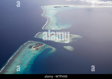 Aerial view of coral atolls, Maldives, December 2009 - Stock Photo