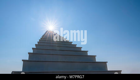 Ladder Paradise leading up to the sun. Development Motivation Business Career Heaven Growth Concept