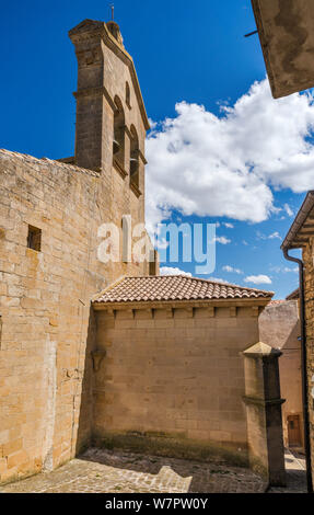 Bell gable at Iglesia de San Martin de Tours, 12th century church, in hill town of San Martin de Unx, near Olite, Navarra, Spain - Stock Photo