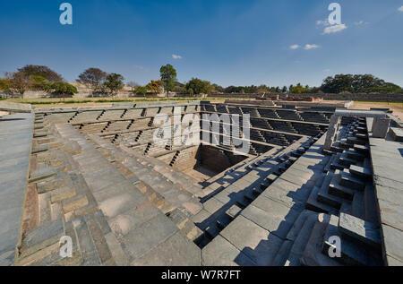 Stepped square water tank, Hampi, Karnataka, India Stock