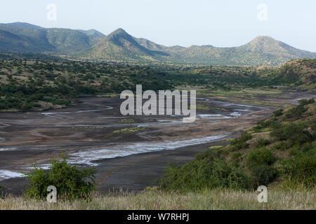 Landscape of Lake Magadi in rainy season, Kenyan Rift Valley, Kenya - Stock Photo