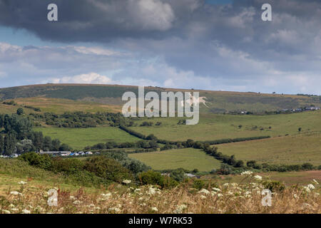 osmington white horse on hill in english countryside - Stock Photo