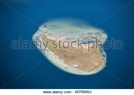 Aerial photograph of  Island in Lake Sibaya, KwaZulu-Natal Province, South Africa, June 2010 - Stock Photo