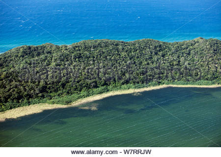 Aerial Photograph of Lake Sibaya / Sibhayi, KwaZulu-Natal Province, South Africa, Indian Ocean, June 2010 - Stock Photo