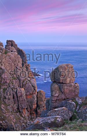 Towering granite cliffs at Gwennap Head near Land's End, Cornwall, England. May 2012. - Stock Photo