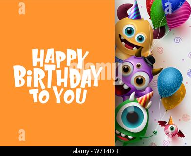 Happy Birthday greeting card vector background template. Cute little monster characters wearing party hats and holding colorful balloons. - Stock Photo