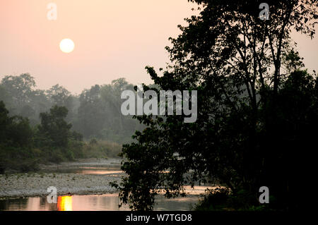 Sunset in the Royal Bardia National Park, Nepal, October 2011. - Stock Photo