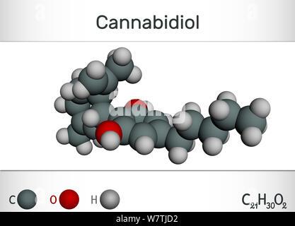 Cannabidiol CBD molecule. hemical formula and molecule model. Active cannabinoid in cannabis, has antipsychotic effects. 3D rendering - Stock Photo