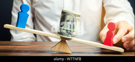 Wooden figures of man and women on the scales. Concept of gender pay gap. Income inequality. Oppression of women. Gender discrimination. Underestimati - Stock Photo
