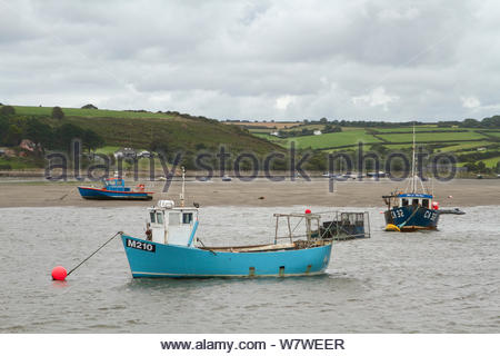 Moored fishing boat on the River Teifi, St Dogmaels, Pembrokeshire, Wales, United Kingdom, September 2013. - Stock Photo