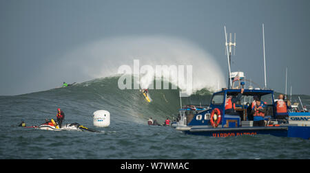 Harbour patrol boat and surfers competing in Mavericks Surfing Competition 2014, Half Moon Bay, California, USA, January. - Stock Photo