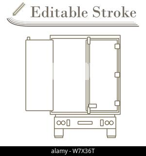Truck Trailer Rear View Icon. Editable Stroke Simple Design. Vector Illustration. - Stock Photo