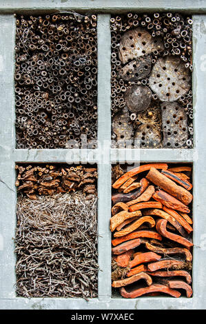 Man-made 'insect hotel' offering artificial nesting facilities for solitary bees and cavities for hibernating ladybirds and other insects. Made from reed and bamboo stems, drilled holes in woodblocks, twigs and roof tiles. - Stock Photo