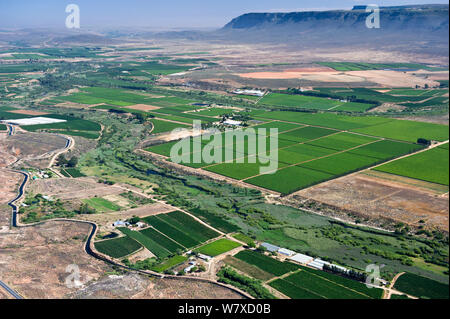 Aerial photograph of the Olifants River and the intensive agriculture along its course, a threat to the endemic fish species found here. Citrusdal and Clanwilliam area, Western Cape, South Africa. December 2013. - Stock Photo