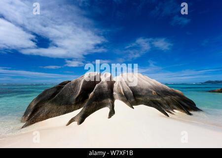 Rock formation on Anse Source d'Argent beach. La Digue Island, Seychelles. November, 2012. - Stock Photo