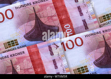 Norwegian currency. Money of Norway closeup background. Hundre kronor - Stock Photo