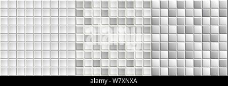 Set of seamless black-and-white mosaic tiles textures. Grayscale vector background - Stock Photo