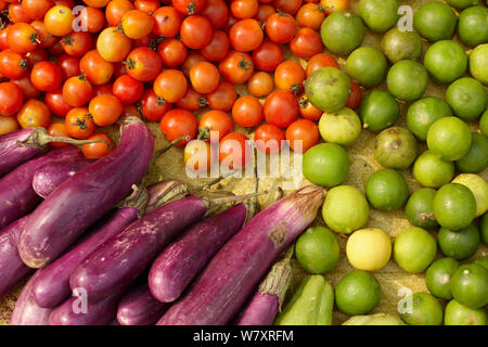 Fruits and vegetables for sale in market in Luang Prabang, Laos, March 2009. - Stock Photo