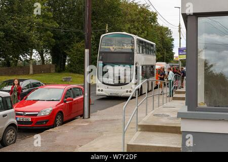 Cork, Ireland, 7 August , 2019.   Young Offenders back filming on Dublin Hill, Cork City. PIctured is a double decker bus where the crew has there lunch and breaks between scenes. The crew of the Young Offenders are back filming on Hawthorn Mews, Dublin Hill.  The boys are set to be on set all day today filming scenes for their upcoming TV show.  Credit: Damian Coleman - Stock Photo